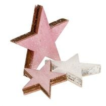 Wooden star 3-5cm pink / white with glitter 24pcs
