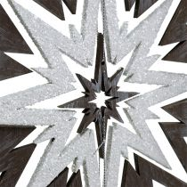 Wooden Star Hanging Decoration Gray, white 48cm x 40cm