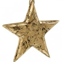 Star to hang, wood decoration with gold effect, Advent 14cm × 14cm