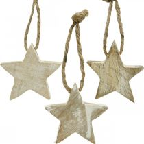Wooden star Christmas tree decorations natural, white washed 5cm 36pcs