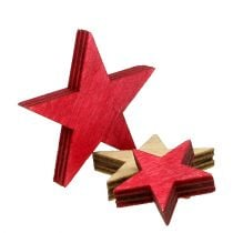 Wooden stars 3-5cm nature / red 24pcs