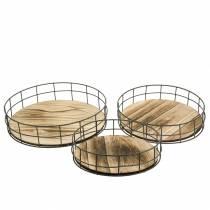 Decorative tray round wood, metal nature Ø25 / 30 / 35cm, set of 3
