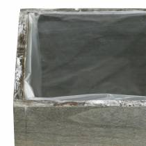 Planter wood gray white washed 10 × 10cm / 14 × 14cm set of 2