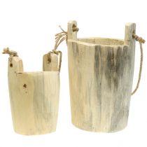Wooden pot for hanging nature 2pcs
