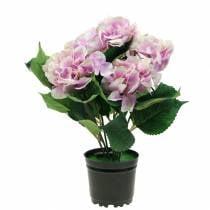 Silk flowers hydrangea in a pot lilac 35cm