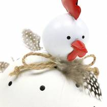 Deco figurine Chicken White with dots and feathers H13cm