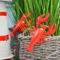 Lobster deco-hanger metal red 11.5x21.5cm 3pcs