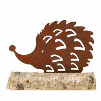 Hedgehog Patina on wooden foot 14.5cm x 17.5cm