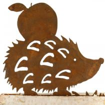 Rust hedgehog decoration birch bark metal autumn decoration 20 × 4cm H10.5cm