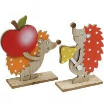 Autumn figure, hedgehog with apple and mushroom, wood decoration orange / red H24 / 23.5cm set of 2