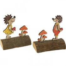 Hedgehog with mushrooms, autumn figure, pair of wooden hedgehogs yellow / orange H11cm L10 / 10.5cm set of 2
