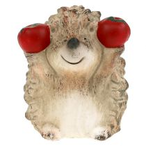 Hedgehog ceramic figurine with apple brown 7,5cm