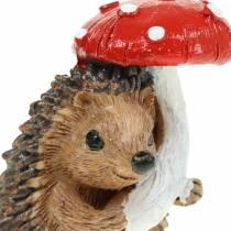 Autumn figurine hedgehog with mushroom H7cm 6pcs
