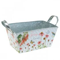 Jardiniere planter with handles metal flowers spring decoration 23 × 14 × 11cm