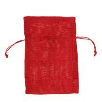 Jute sacks red 16cm x 24cm 10pcs