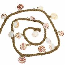 Jute cord with shells and LED 200cm decorative fish restaurant