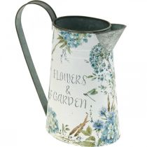 Flower vase jug flowers blue, green garden decoration planter metal 23cm
