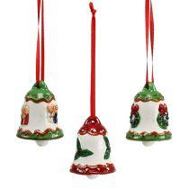 Ceramic bell for hanging 5cm multicolored 3pcs