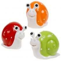 Ceramic Snail 6,5cm - 7,5cm Green, Orange, Red 6pcs