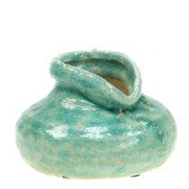 Ceramic vase antique blue H9cm