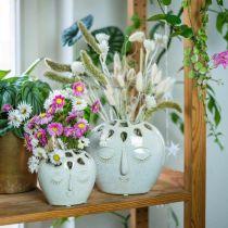 Ceramic vase with face cream, beige H13cm stoneware look 1p