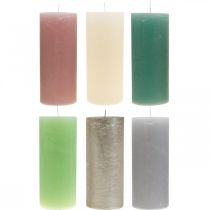 Pillar candles colored through different colors 85 × 200mm 2pcs