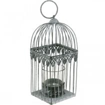 Candle decoration, bird cage with tealight glass, metal lantern, wedding decoration, lantern 22cm