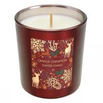 Scented Christmas candle orange, cinnamon candle glass red Ø7 / H8cm