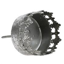 Candle holder with thorn Antique silver Ø5cm H10cm 1pc