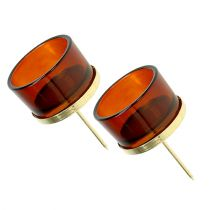 Candle holder on a stick with glass Gold, Brown 4pcs