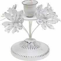 Candle decoration, spring, candle holder with flowers, metal decoration for the wedding