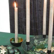 Candle holder Christmas metal black, gold table decoration Ø13cm 3pcs
