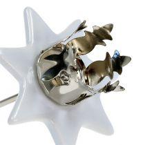 Candlestick star white-silver Ø6cm 4pcs