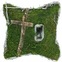 Cushion moss and vines with cross for grave arrangement 25x25cm