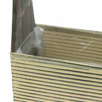 Planter with handle cream, gray white washed wood metal 30 × 12.5cm / 28 × 12cm set of 2