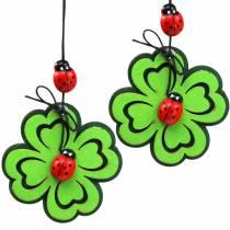 Shamrock with ladybugs for hanging Green 7cm 6pcs
