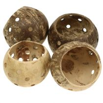 Coconut shell polished with holes nature Ø9,5cm - Ø13cm 1p