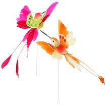 Hummingbird on the wire to plug Pink, Orange 17cm 6pcs
