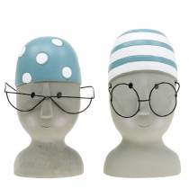 Decorative head swimmer with glasses and bathing cap blue white H15cm / 16cm 2pcs