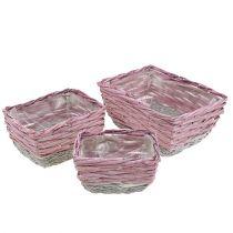 Basket square set of 3 pink nature