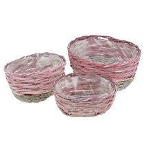 Basket oval set of 3 pink, nature