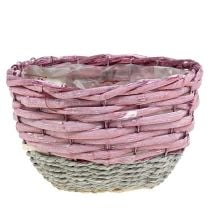 Basket round set of 3 Ø14cm - 24cm pink, nature
