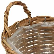 Basket wicker basket with handles Ø30cm height 22cm for planting