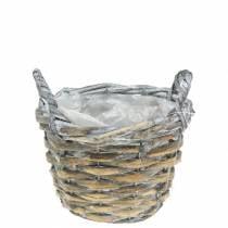 Basket wicker basket gray white Ø15.5cm high 10cm with handle