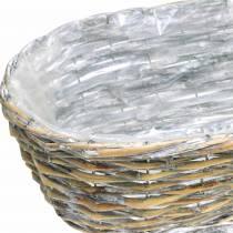 Planting basket oval natural, washed white 37/43 / 49cm, set of 3