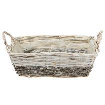 Plant basket cornered white washed 20x28,5 cm