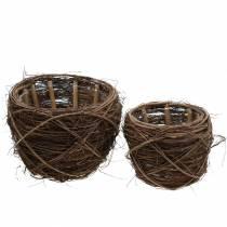 Plant pot willow natural colors Ø26 / 20cm H20 / 16cm set of 2