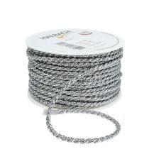 Cord ribbon silver 4mm 25m