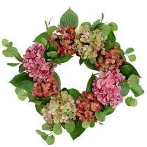 Wreath Hydrangeas Ø60cm Green, Pink 1pc