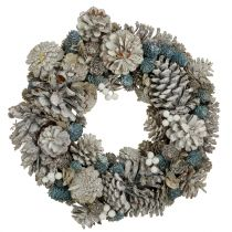 Pin wreath with glitter white, blue, nature Ø32cm